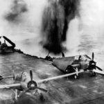TBF Japanese dive bomber bomb narrowly misses US carrier near Rabaul