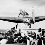 TBF Avenger catapult launch on aircraft carrier