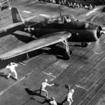 TBF #12 of VT-8 ready for launch from the USS Bunker Hill CV-17 for a strike against Saipan June 10, 1944