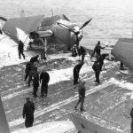TBF Avengers on snow covered deck of USS Ranger CV-4 1943