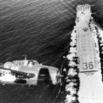 TBM-3E Avenger over USS Antietam CV-36