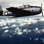 TBF-1 Avenger white 18 over Wake island – color photo