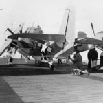 TBM-3 Avenger of VMTB-233 on board USS Block Island (CVE-106) during operations off San Diego February 7, 1945