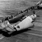 Damaged TBM Avenger #43 of VT-20 after returning to the carrier USS Enterprise CV-6, Philippine Islands October 1944