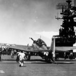TBM Avenger of VT-31 pictured after recovering on the flight deck of the aircraft carrier Cabot (CVL-28) operating in the Pacific on July 11, 1944