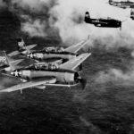 TBM Avengers of VT-88 USS Yorktown CV-10 in flight over the Pacific on August 22, 1945
