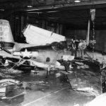 Destroyed TBM Avenger #122 on the hangar deck of the USS Monterey December 19, 1944