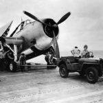 Willys MB and TBF Avenger on Deck USS Yorktown (CV-10) during attack on Wake October 1943