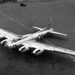 Overhead view of XB-38 Flying Fortress on the ground