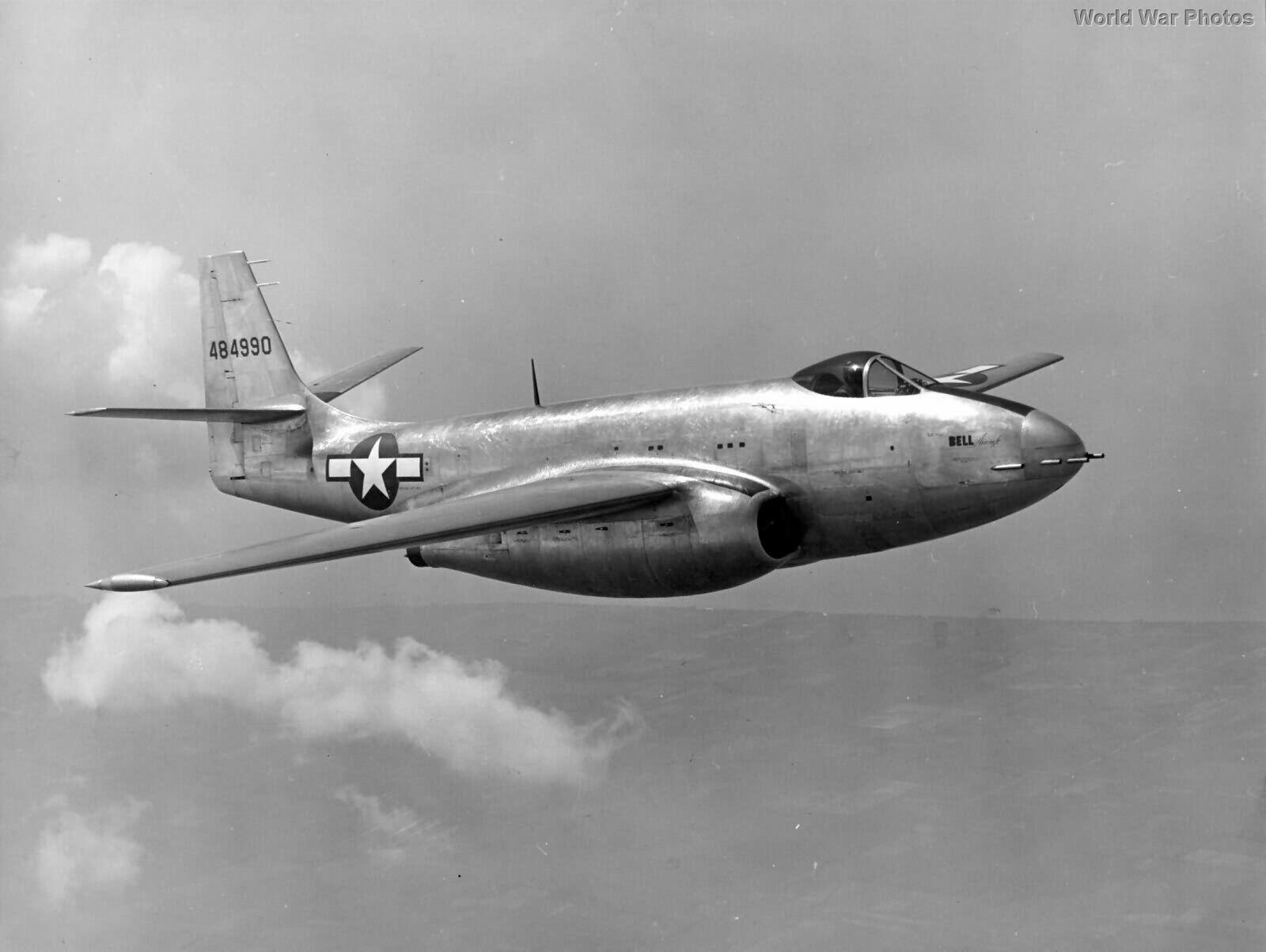 Escort jet fighter Bell XP-83 during test flight