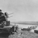 1945 GIs Danube River Ferry jeeps and antiaircraft M3 M16 MGMC