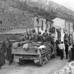 Allied Troops on M3 Halftrack Greeted by Civilians in Liberated Pioppo Sicily 1943