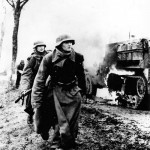 German Troops By burning US M3 Halftrack Battle of the Bulge