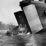 M3 GMC Halftrack Rolls out of LST onto Cape Gloucester 1943