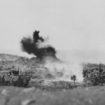 Marines 75 mm GMC M3 half track in action Iwo Jima 1945
