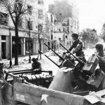 US Troops and M16 Gun Motor Carriage named Hitlers Hearse in Rennes France