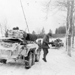 GI's dismount M8 Armored car and jeeps Mechelau Luxembourg 3rd Army 1945