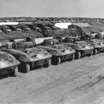 M8 Armored Vehicles Await Invasion at Ordnance Depot in England 1944