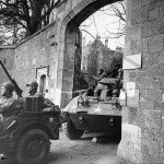 MB GPW Jeep And M8 Armored Car Leave Castle For Invasion Training 1944