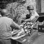 US VII Corps Gen. Collins in M8 Greyhound in Eupen Belgium' 44