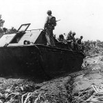 LVT-1 Alligator carries Marines to front on Bougainville 1943