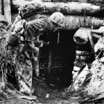 Marines Searches Japanese Pillbox on Bougainville 1943