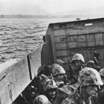 Marines in Landing Craft approaching Empress Augusta Bay Bougainville Beach 1943