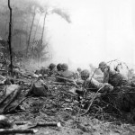 Wounded US Marines Guard Bougainville Beach