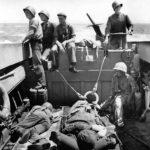 Landing Craft Ambulance Moves Wounded US soldiers from Eniwetok