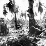 Marines Wait as Navy Planes Complete Strafing on Eniwetok 1944