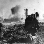 Marines blast Japanese position on Parry Island, Eniwetok