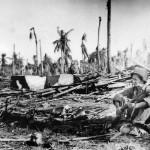 Soldier on Guard Duty Amid Ruins on Eniwetok 1944