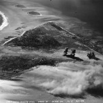 Strike photograph taken over Engebi Eniwetok Atoll from an F6F Hellcat from VF-12 in February 1944