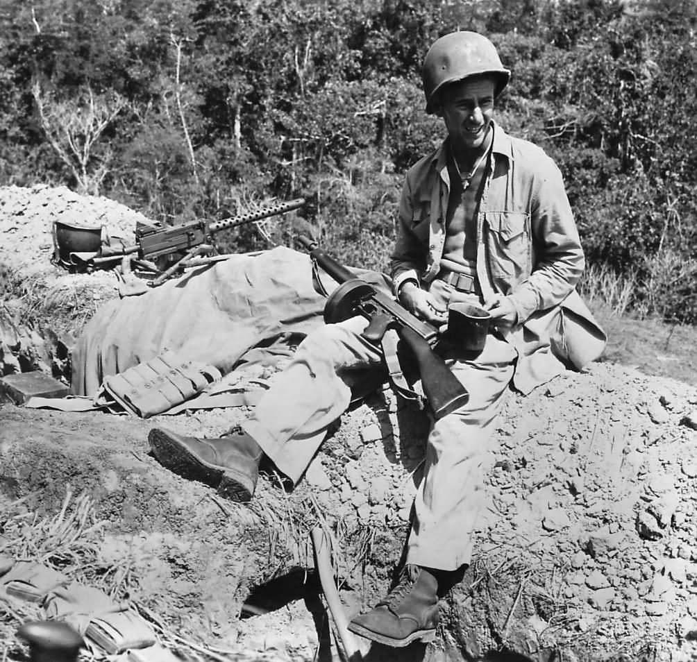 Marine at Machine Gun Position on Edson's Ridge Guadalcanal 1942   World  War Photos