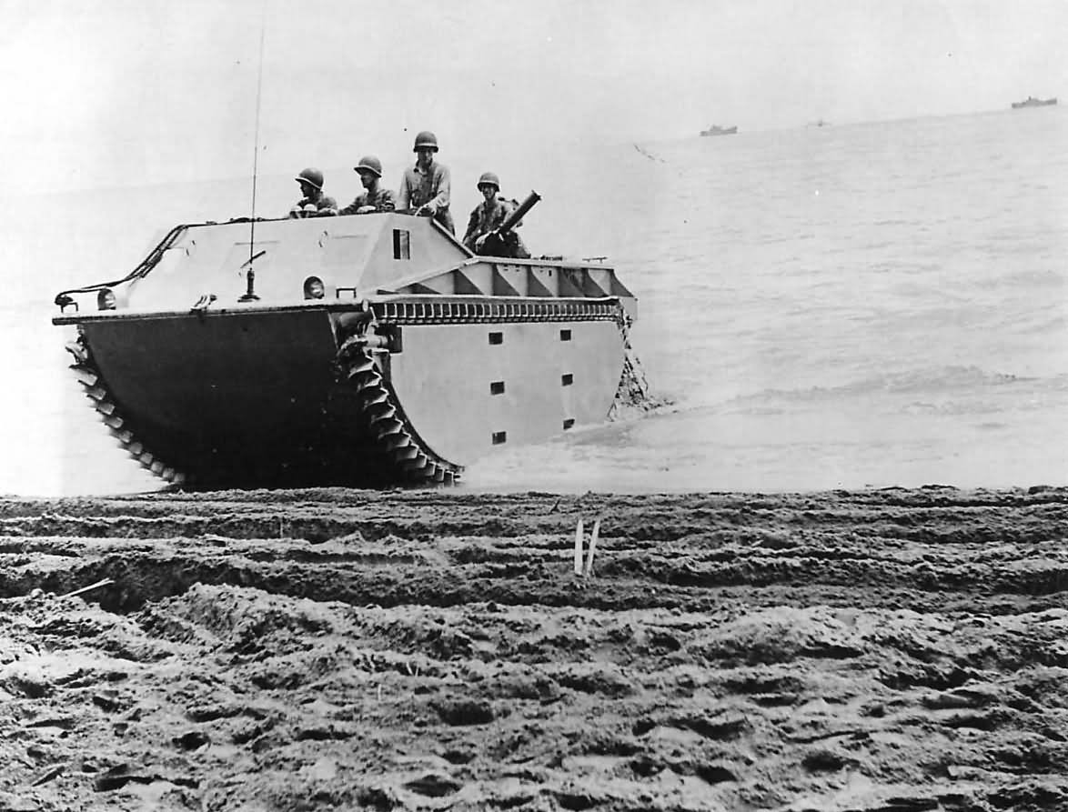 Marines In LVT Amphibious Tractor On Guadalcanal 1942