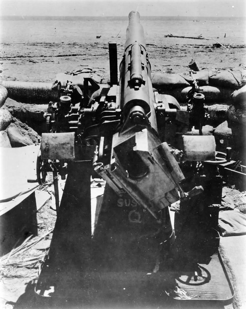 Marines use Japanese AAA gun named Susie Q 1942