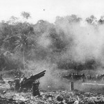 Guadalcanal US Marines 155mm Howitzers in action 1943