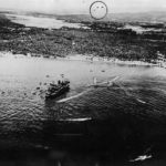 Japanese Landing Barges Leave Transport for Guadalcanal Beach