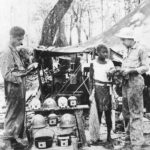Marine Sells Japanese Items in Souvenir Shop on Guadalcanal