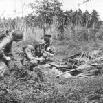 Marines Inspect Japanese Gun Emplacement on Guadalcanal 1942