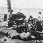 Marines digging in on Beach of Guadalcanal 1942
