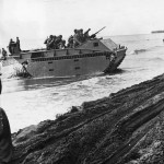 Marines in LVT Amphibious Tractor Land on Guadalcanal 1942