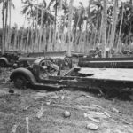 Ruins of Japanese trucks after US bombardment of Guadalcanal 1942
