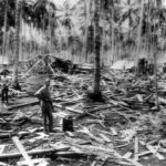 Ruins of Radio Station on Guadalcanal hit by Japanese bomb 1942