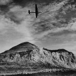 B-29 Superfortress Flying over Mount Suribachi Iwo Jima