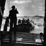 DUKW carries Marines from LST to shore of Iwo Jima