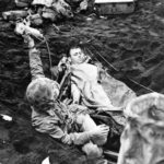 Iwo Jima medic and wounded Marine