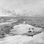 LVTs Heading for Iwo Jima