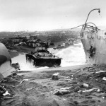 Marine Amphibious LVT Amtracs on Iwo Jima beach 1945