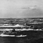 Marine LVTs heading for shore Iwo Jima